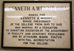 Kenneth A. Wright Hall Sign by Southern Adventist University
