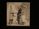 Grim reaper shaking hands with alcohol bottle